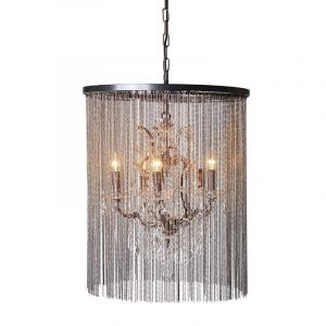 Crystal and Glass Chain Mail Chandelier