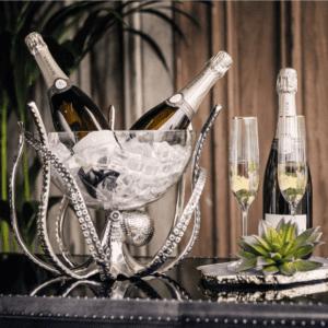 Octopus Design Wine/Beer Cooler - Chrome Base - Glass Ice Bowl