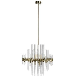 Chandelier - Glass Rod & Brass Design - Large 6 Light Chandelier