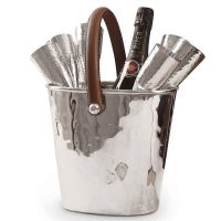 Wine Cooler - Leather Handled Ice Bucket - Six Baseless Flutes - Culinary Concepts