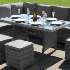 Kingston Corner Sofa Dining Set with Inset Ice Bucket - GREY WEAVE