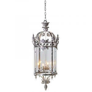 Chandelier - Antique Chrome & Glass - 4 Light - Ornate Hanging Lantern