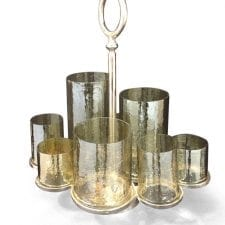 8 Hurricane Glass Gold Inlaid Candle T Light Holder