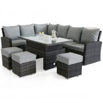 Garden Corner Sofa Dining Set - Rising Dining Table - GREY POLYWEAVE