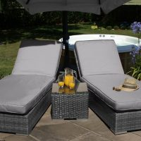 Orlando Double Sunlounger & Table Set - GREY WEAVE