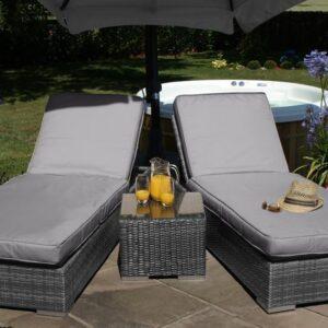 Orlando Double Sunlounger & Table Set - GREY WEAVE