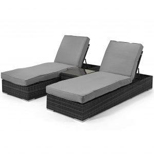 Double Sun Lounger & Side Table Set - Grey Poly-weave Rattan