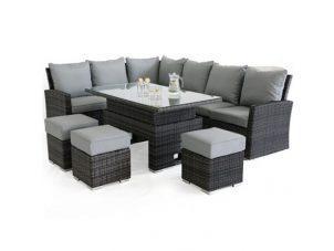 Garden Corner Sofa Dining Set - Rising Dining Table - Grey Polyweave