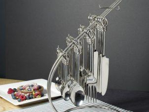 Cutlery Set 24 Piece - Highly Polished Chrome Knot Design