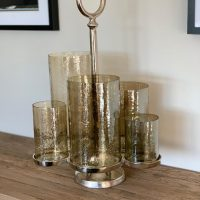 T Light Candle Holder - 5 Champagne Gold Glass Vase Candle Center Piece