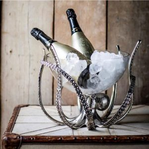 Octopus Wine Cooler - Chrome Base - Glass Ice Bowl