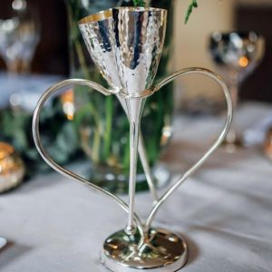 Champagne Flutes - Entwined Heart 'Lovers' Design - Polished Chrome