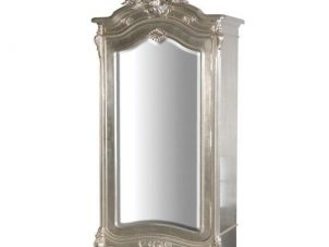 Wardrobe - Carved Single Door Mirrored Armoire/Wardrobe - Antique Silver Range