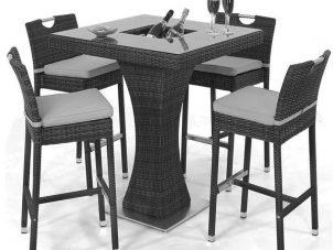 Bar Set - 4 Seat Square Garden Bar Set - Inset Ice Bucket - Grey Polyweave
