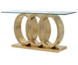 Console Table - Triple 'O' Polished Brass Base - Glass Top Console Table
