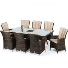 LA 8 Seat Rectangular Dining Set - Inset Ice Bucket - Umbrella - BROWN POLYWEAVE