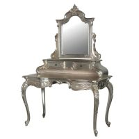 Dressing Table - Ornate Carved Dressing Table With Mirror - French Antique Silver