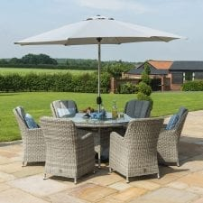Oxford 6 Seat Round Garden Table Set - Inset Ice Bucket - Umbrella - GREY SYNTHETIC RATTAN