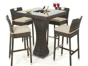 4 Seat Garden High Bar Set - Inset Ice Bucket - Brown Polyweave