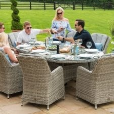Oxford 8 Seat Oval Garden Dining Table Set - Inset Ice Bucket - Umbrella - GREY SYNTHETIC RATTAN