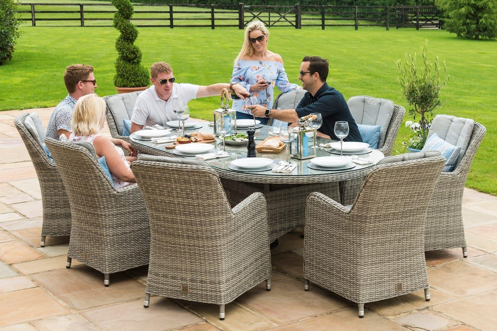 Outstanding Oxford 8 Seat Oval Garden Dining Table Set Inset Ice Bucket Umbrella Grey Synthetic Rattan Onthecornerstone Fun Painted Chair Ideas Images Onthecornerstoneorg
