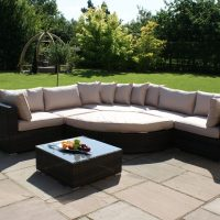 Deluxe Garden Half Moon Corner Sofa Set - Taupe Cushions - Brown Polyweave