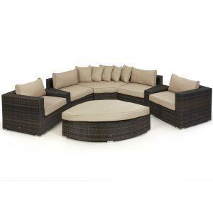 Garden Corner Sofa Set - Half Moon - Taupe Cushions - Brown Poly Weave
