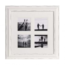 White Distressed Wooden 4 Picture Photo Frame