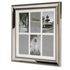 Brushed Silver Edge 6 Picture Photo Frame Holding  6 6x4 inches Picture of your love ones. With a Brushed Silver surround featuring a rope effect with bevelled glass surround.