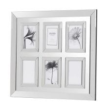 Mirrored 6 Picture Frame in Mirrored Frame Holding  6 6x4 inches Picture of your love ones. With Mirrored Frame with 6 Mirrored Framed Photos inside