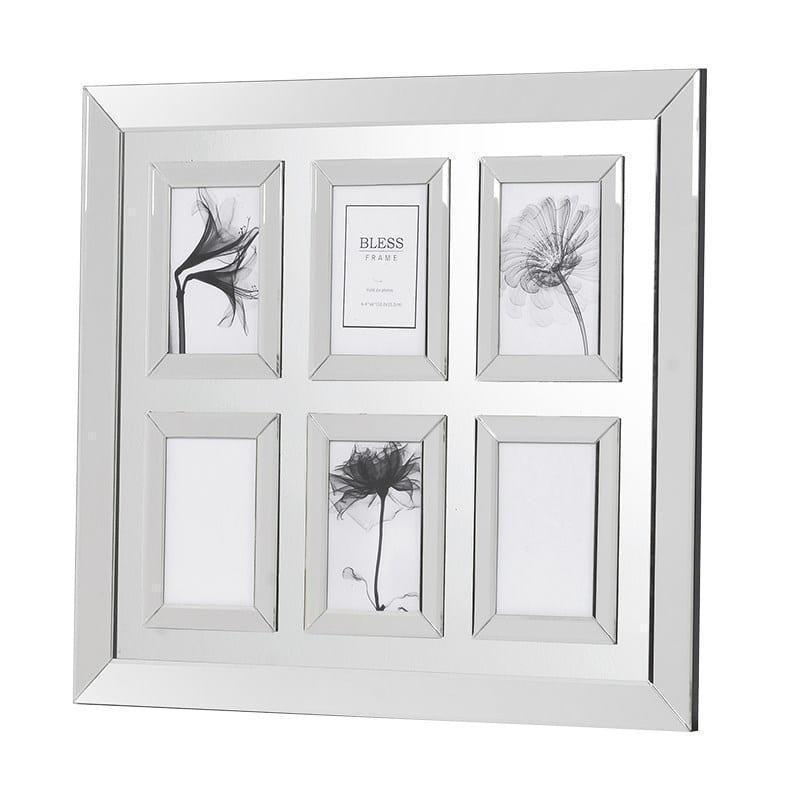 Mirrored 6 Picture Frame in Mirrored Frame Holding 6 6x4 inches ...