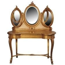 French Versailles Range - Gilt Triple Mirrored Dressing Table
