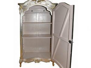 Wardrobe - Carved Single Door Mirrored Armoire/Wardrobe - Antique Silver Range