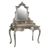 French Chateau - Carved Dressing Table With Mirror - French Silver