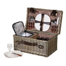 Rattan Picnic Hamper - 4 Place Settings - Cool Box