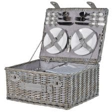 Rattan Pale Blue Picnic Hamper - 4 Place Settings
