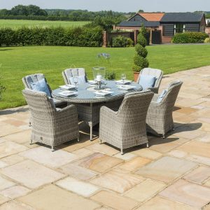 6 Seat Oval Garden Dining Table Set - Inset Ice Bucket - Umbrella - Grey Polyrattan