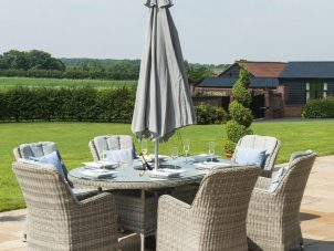 6 Seat Oval Garden Dining Table Set - Inset Ice Bucket - Umbrella - Grey Polyrattan