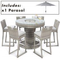 Garden Bar Set - Inset Ice Bucket - 6 Seat - Umbrella & Base - Grey Polyrattan