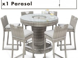 Garden Bar Set - Inset Ice Bucket - 6 Seat - Umbrella & Base - Grey Polyrattan