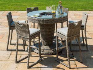 6 Seat Garden Bar Set - Inset Ice Bucket - Umbrella & Base - Grey Polyrattan