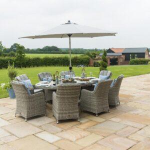 8 Seat Oval Garden Dining Table Set - Inset Ice Bucket - Umbrella - Grey Polyweave