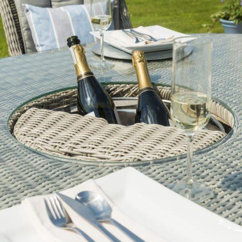 8 Seat Oval Garden Dining Table Set - Inset Ice Bucket - Umbrella - Grey Polyweave Rattan