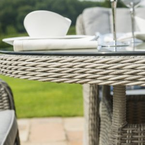 8 Seat Round Garden Table Set - Inset Ice Bucket - Umbrella - Venice Chairs - Grey