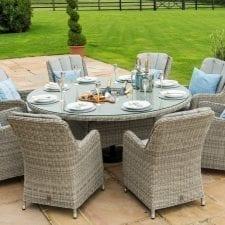 Oxford 8 Seat Round Garden Table Set - Inset Ice Bucket - Umbrella - GREY SYNTHETIC RATTAN