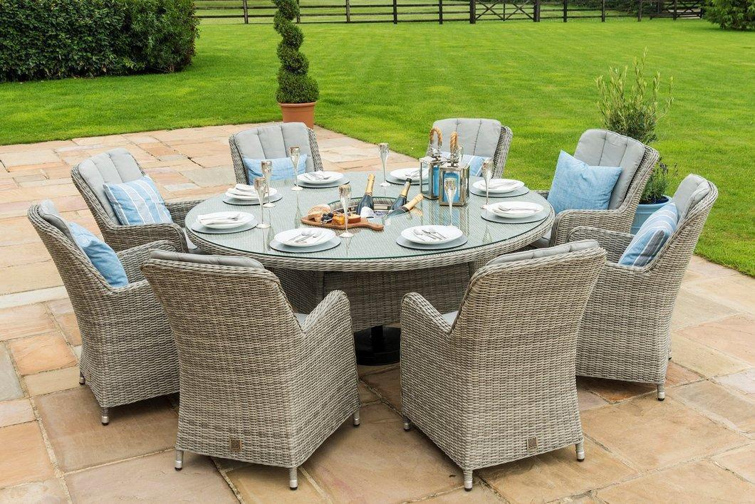 oxford 8 seat round garden table set inset ice bucket umbrella
