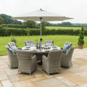 8 Seat Round Garden Table Set - Ice Bucket -Brolly & Base - Venice Chairs