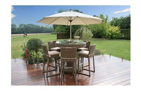 6 Seat Garden Bar Set - Inset Ice Bucket - Umbrella & Stand - Chestnut Latte Rattan