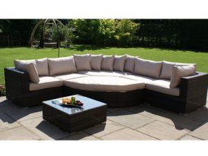 Deluxe Garden Half Moon Corner Sofa Set - Taupe Cushions - Brown Polyweave