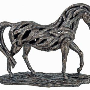 Horse Statue - Cold Cast Bronze Finish - Driftwood Style Carved Mare